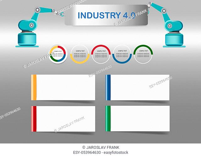 Smart factory concept showing color timeline, four blank white labels and robots holding a sign Industry 4.0 on assembly line in factory interior