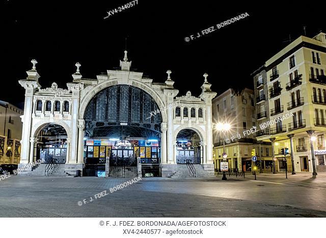 Central Market of Saragossa by Night, Aragon, Spain