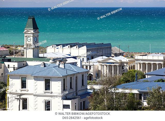 New Zealand, South Island, Otago, Oamaru, elevated town view