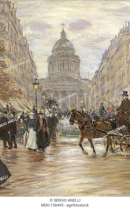 Boulevard Saint Michel, by Unknown Artist, 1898, 19th Century, oil on canvas, cm 64 x 77. Russia, Moscow, Pushkin Museum. All