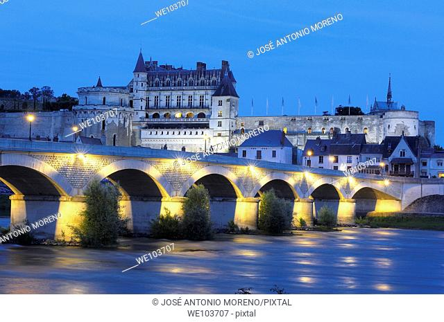 Chateau d'Amboise castle at dusk, Amboise, Indre-et-Loire, Loire Valley, France