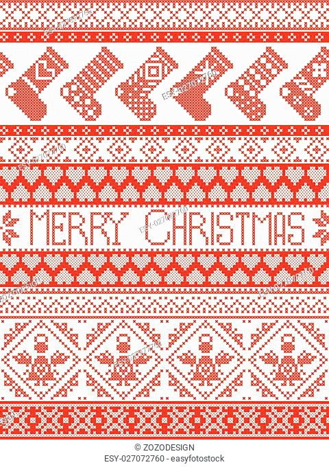Merry Christmas Tall Scandinavian Printed Textile style and inspired by Norwegian Christmas and festive winter seamless pattern in cross stitch with stockings