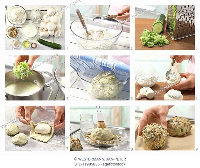 How to prepare a multi-grain bread roll with a stuffed mushroom