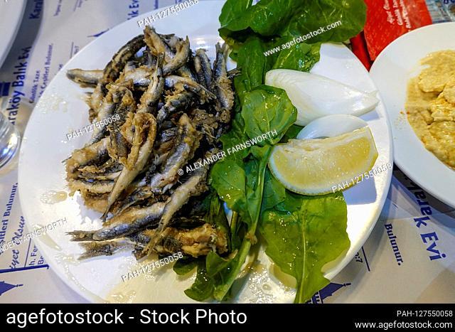 Istanbul, Turkey A plate of fried sardines at a restaurant. | usage worldwide. - STOCKHOLM/Turkey