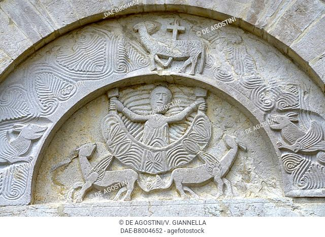 Alexander the Great flying to the sun in a basket pulled by two winged griffins, raised on a portal of the church of Saint Mary della Strada, Matrice, Molise