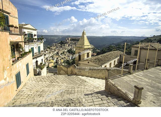 Ragusa Ibla old city of Ragusa in Sicily Italy on October 12, 2018