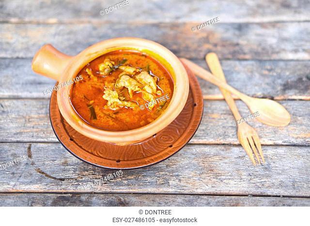 Thai panang curry on wood table