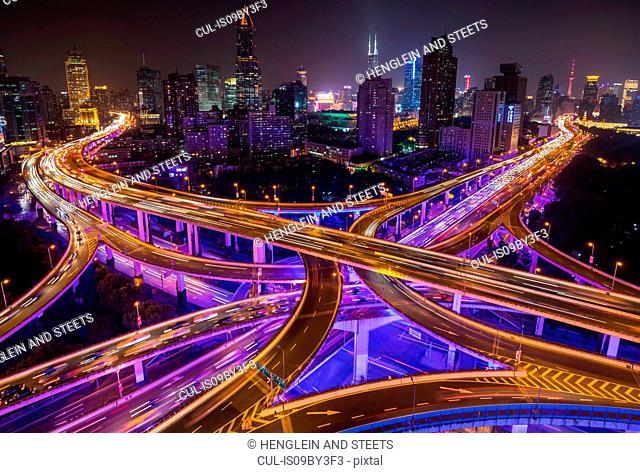 Nine dragon intersection at night, high angle view, Shanghai, China