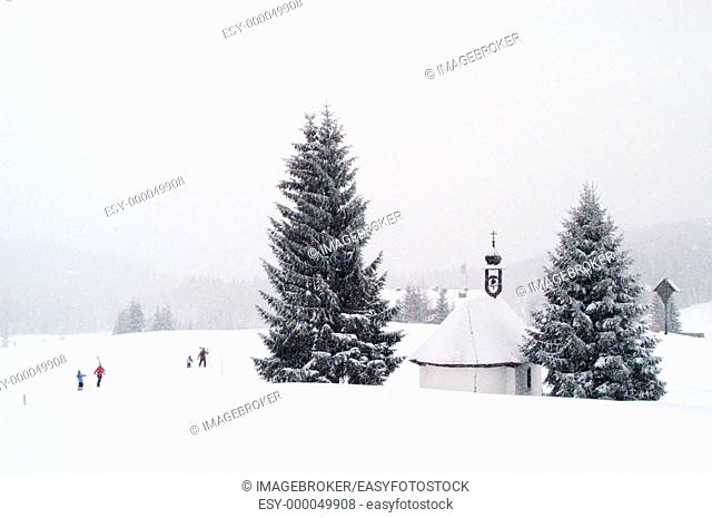 Chapel at the Winkelmoosalm. Upper Bavaria, Germany