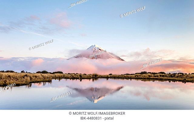 Reflection in Pouakai Tarn, stratovolcano Mount Taranaki or Mount Egmont at sunset, Egmont National Park, Taranaki, North Island, New Zealand