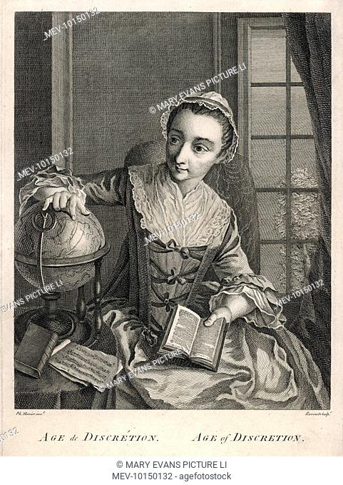 'The Age of Discretion ' - a young girl holds an open book and rests her hand on a globe, while a musical score rests on the table beside her - evidently a...