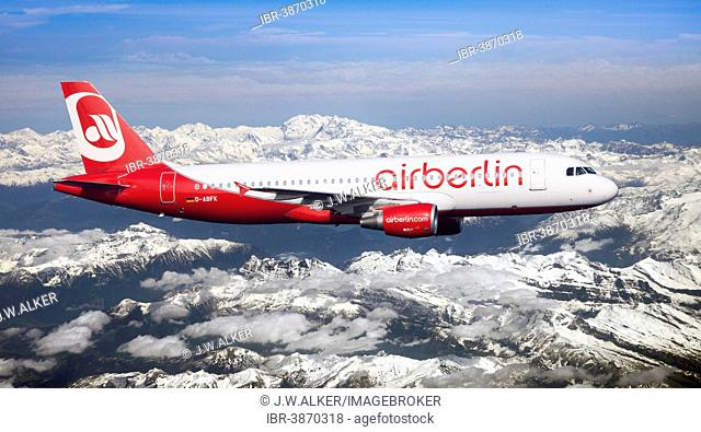 Air Berlin Airbus A320-214 in flight over the Alps, Switzerland