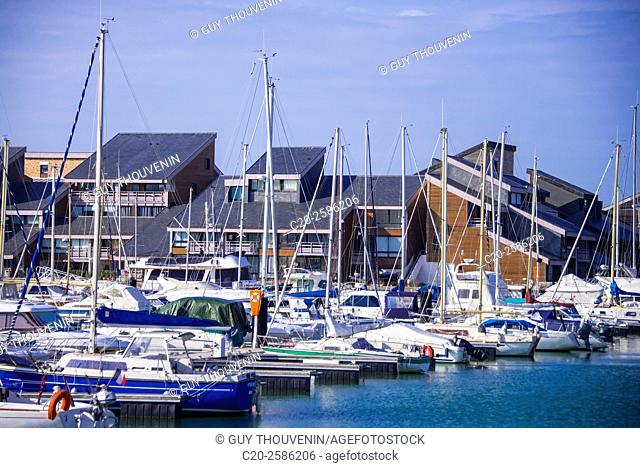 Sails boats,marina and houses,Deauville,14800,Normany,France