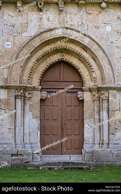 ornamental entrance, Hermitage of Nuestra Señora del Valle, Romanesque ogival temple of Byzantine influence, XII century, Burgos, Spain