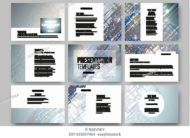 Set of 9 vector templates for presentation slides. Abstract science or technology vector background
