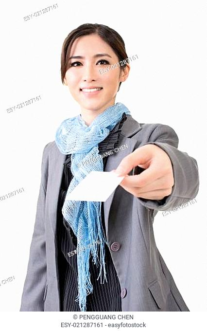 Asian business woman hold a blank business card