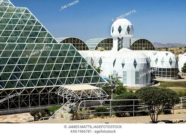 Oracle, Arizona USA - Ultramodern architecture at Biosphere 2 where scientists study the potential for space colonization inside a sealed environment