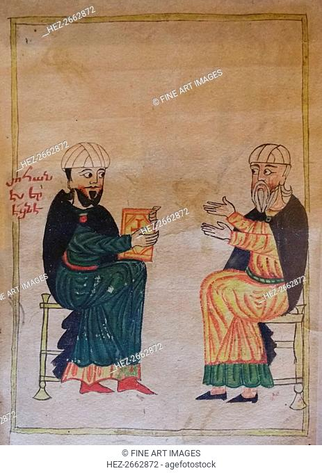 The Teaching in an Armenian primary school. Detail of a miniature from Mashtots Matenadaran, 1417