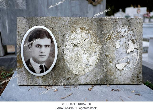 Europe, Greece, Kavala, old picture on a tomb
