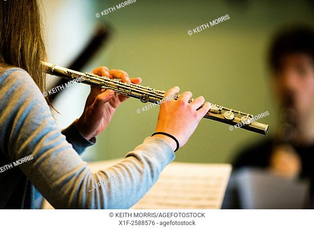 Young musicians: classical music flute player in rehearsal at Aber Music Fest festival 2015