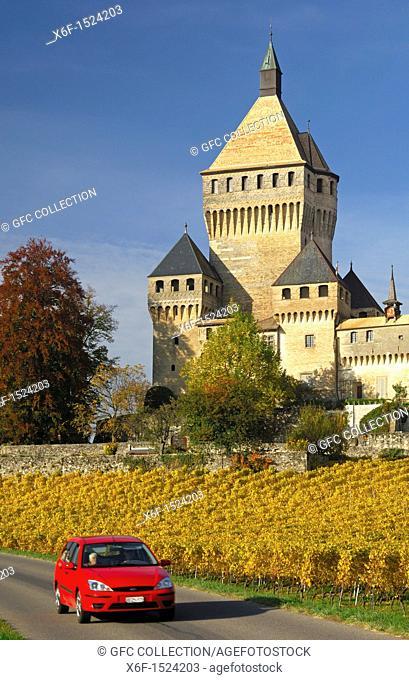 Keep, Castle Vufflens-le-Château, Canton of Vaud, Switzerland