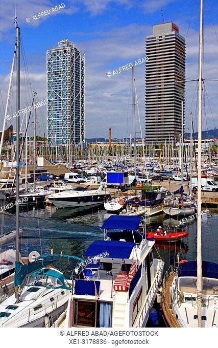 marina, hotel Arts and Torre Mapfre, Barcelona, Catalonia, Spain