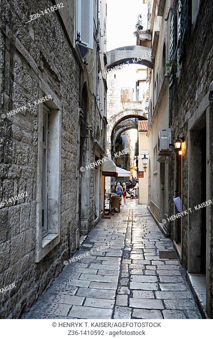 Typical narrow street in Split, Croatia