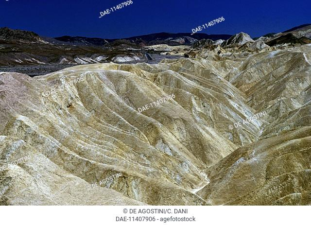 Erosion of sedimentary and volcanic rock, Zabriskie Point, Death Valley National Park, California, United States