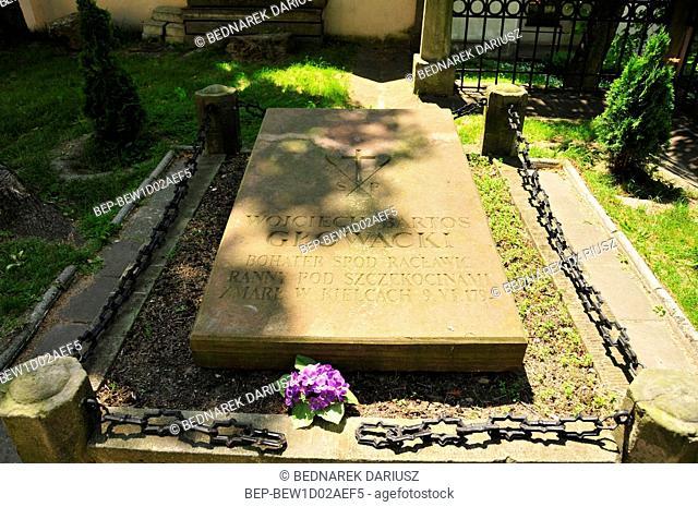 The grave of Wojciech Bartos Glowacki, hero from Raclawice. Kielce, swietokrzyskie Voivodeship, Poland