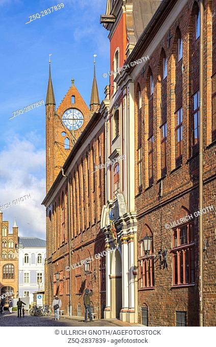 Roof gable of the Town Hall of the Hanseatic City of Stralsund, Mecklenburg-Pomerania, Germany