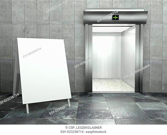 3d modern elevator with empty frame
