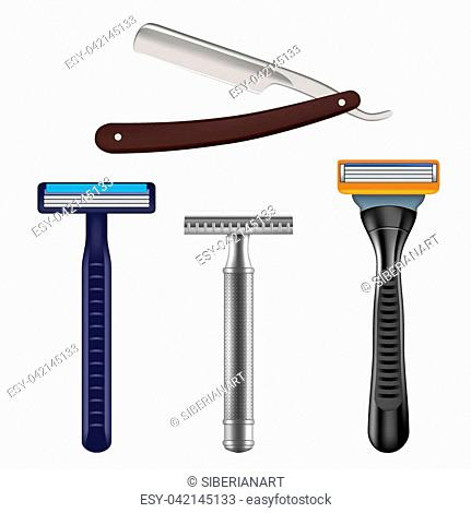 Shaving razor mockup set. Vector realistic illustration of straight razor with brown handle and color wet shave razors for men