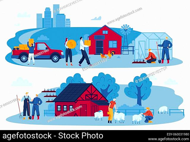Help family, people work together, boy volunteer, home caring father, unloading machine, design, cartoon style vector illustration