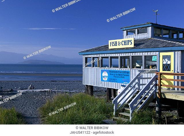 Cafe, Homer Spit, Homer, Kenai Peninsula, Alaska, USA