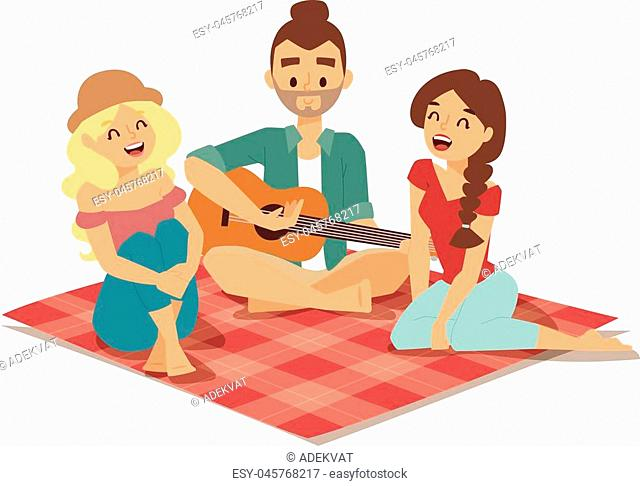 Romantic couple of lovers playing on old fashioned mini guitar song. Nostalgic retro guitar song concept of love faces of boyfriend and girlfriend