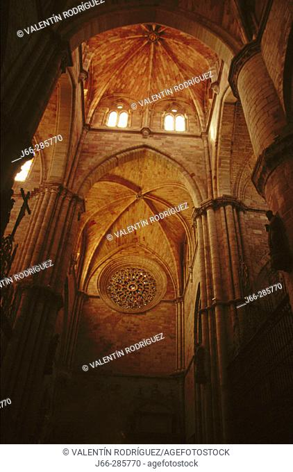Cathedral (started in 1130). Siguenza. Sierra de Ayllon. Guadalajara province. Castilla-La Mancha. Spain