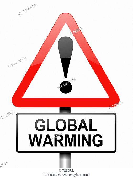 Illustration depicting red and white triangular warning road sign with a global warming concept. White background