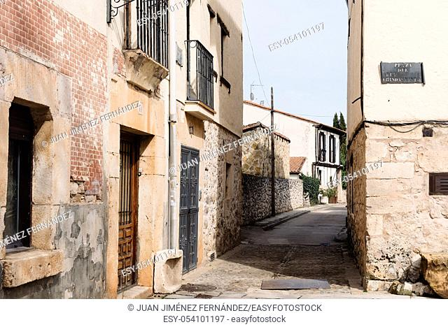 Covarrubias, Spain - April 16, 2019: Scenic view of the old medieval town of Covarrubias in Burgos, Castile and Leon