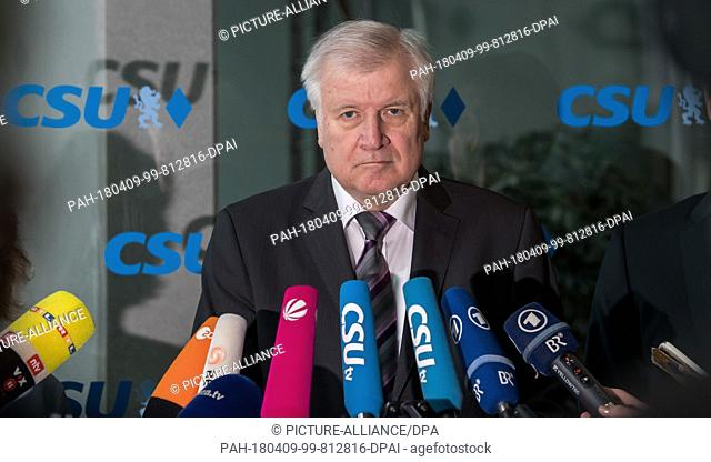 09 April 2018, Germany, Munich: Horst Seehofer, party leader of the Christian Social Union (CSU) and German Interior Minister