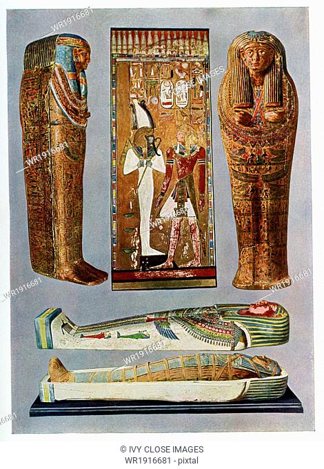 The artifacts pictured here are: TOP, from left to right: sarcophagus of a 19th Dynasty woman fropm Thebes, the 19th Dynasty Pharaoh Seti I before Osiris
