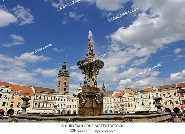 Baroque Samson fountain with the Black Tower in the background, Premysl Ottokar II Square, Ceske Budejovice, South Bohemian Region, Czech Republic, Europe