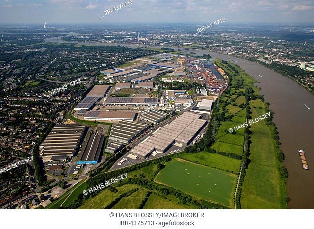 Aerial view, Logport 1 and Logport II in Rheinhausen am Rhein with Container Terminal and Rhine flood, Duisburg, Ruhr district, North Rhine-Westphalia, Germany