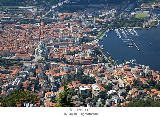 View of the town of Como from Brunate, Lake Como, Lombardy, Italian Lakes, Italy, Europe