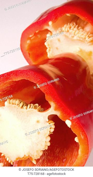 Cross section of a red pepper