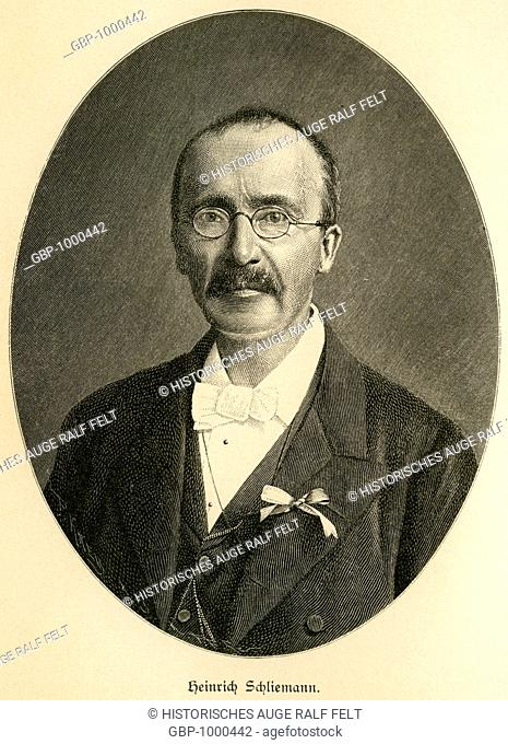 Europe, Germany, Mecklenburg-West Pomerania, Neubukow, Heinrich Schliemann, German businessman and archaeologist, portrait