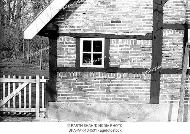 Harlf Timbered House fence and window , Ledeboer Park , Enschede , Netherlands , Europe
