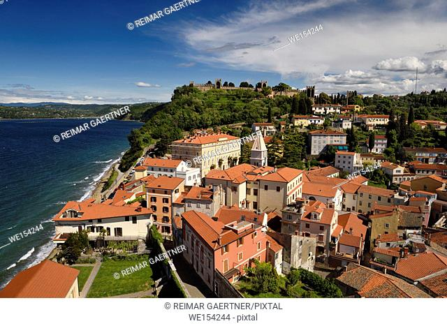 Aerial of Piran Slovenia on Gulf of Trieste Adriatic sea with St Francis of Assisi church bell tower and ancient Town Walls on hilltop