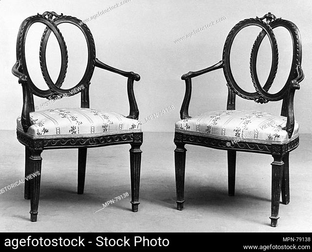 Pair of armchairs. Date: late 18th century; Culture: Northern Italian; Medium: Walnut, brocade; Dimensions: Overall (each): 37 x 22 x 19 in. (94 x 55