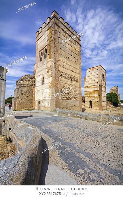 Towers of the walled town of Madrigal de las Altas Torres, Avila Province, Castile and Leon, Spain. Isabella I of Castile was born in Madrigal , April 22, 1451