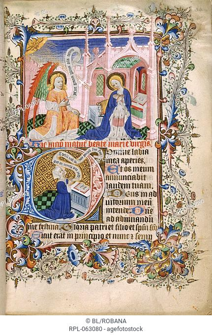 The Annunciation Whole folio Office of the Virgin at Matins The Virgin and and the kneeling angel. Text with initial 'D' woman kneeling at a prie-dieu with open...